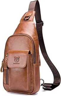 BULLCAPTAIN Genuine Leather Men Sling Bag Travel Crossbody Chest Bag Large Capacity Casual Hiking Daypack