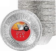 Stock Your Home 5 Inch Aluminum Foil Pie Pans (50 Count) - Disposable & Recyclable Mini Pie Pans - Foil Pie Tin for Bakeries, Cafes, Restaurants - Durable Mini Foil Pans for Pies, Fruit Tarts, Quiche