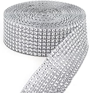 Y&Y Star 10 Yards 30ft 8 Row Silver Diamond Rhinestone Mesh Ribbon Bling Bling Wrap Bulk (8Row Silver)