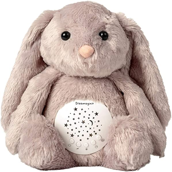 Dreamaginit White Noise Machine Bunny Plush Stuffed Animal Nursery Night Light Projector Shusher Sound Lullabies Soother Baby Toys Gifts Crib Stroller Attachable Sleep Aid Cry Sensor