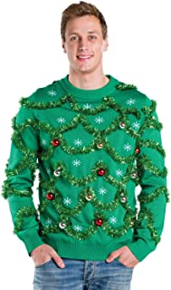Tipsy Elves Men's Gaudy Garland Sweater - Tacky Christmas Sweater w/Ornaments