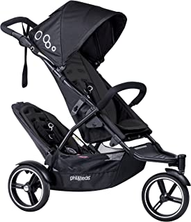 phil&teds Dot Compact Inline City Stroller with Double Kit, Black – Compact Frame with Full Size Seat – Newborn Ready – Parent Facing Seat Included – Compact, One Hand Fold – Puncture Proof Tires