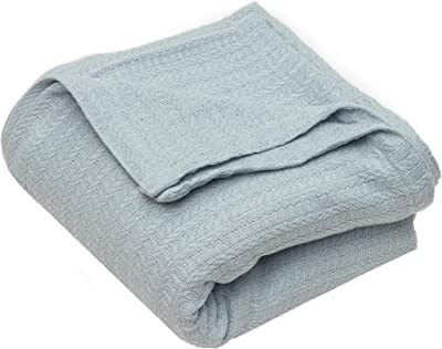 Home Maison Layla Sweater Knit Cotton Throw Blanket, King, Light-Blue