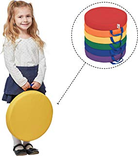 """ECR4Kids SoftZone Floor Cushions with Handles, 2"""" Deluxe Foam, Round, Assorted, (6-Pack)"""