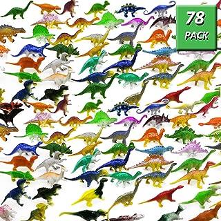 OuMuaMua 78 Pack Mini Dinosaur Figure Toys - Plastic Dinosaur Set for Kids Toddler Education, Including T-rex, Stegosaurus, Monoclonius, etc