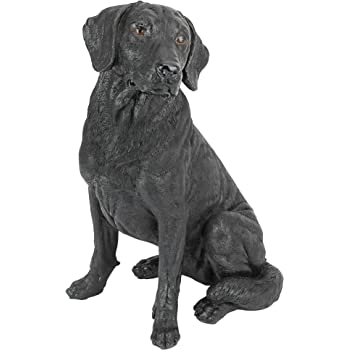 Design Toscano QL156176 Black Labrador Retriever Dog Garden Statue, 15 Inch, Multicolored