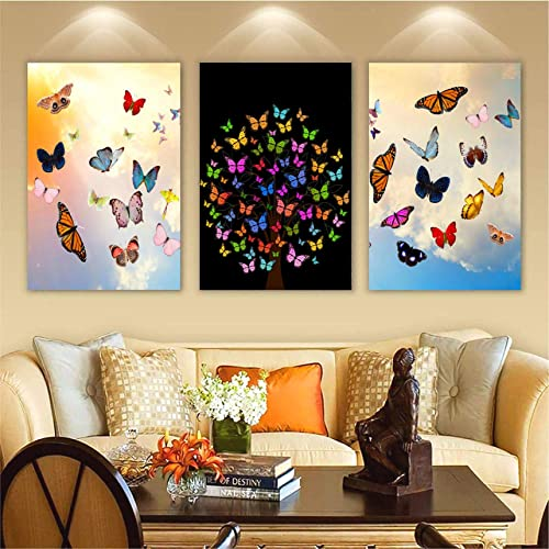 Decals Stock Butterflies Design Set of 3 Kid s Room Decor Modern Art 6MM MDF Poster Home Decorative Gift Item 12 inch x 18 inch 3D Painting Poster 16