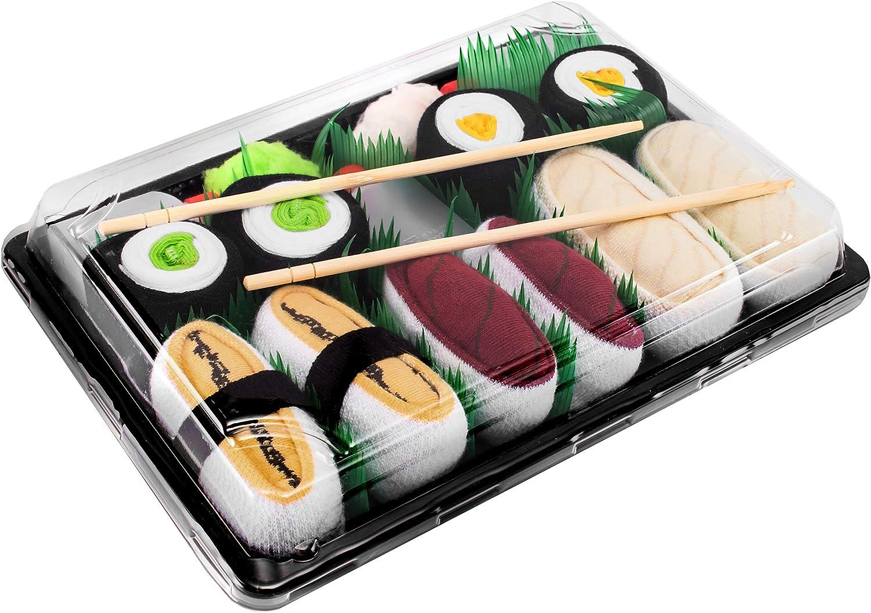 Rainbow Socks - Men's Women's - Sushi Socks Box Tamago Butterfish Tuna Maki - 5 Pairs