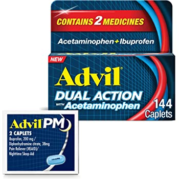 Advil Dual Action Coated Caplets with Acetaminophen and Ibuprofen for 8 Hour Pain Relief, 144 Caplets + 2 ct. Sample of Advil PM