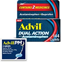 Advil Dual Action with Acetaminophen, 250 Mg Ibuprofen, 500 Mg Acetaminophen Per Dose - 144 Caplets Advil PM with Ibuprofe...