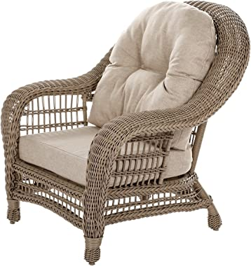 W Unlimited Saturn Collection 2X Patio Chairs Garden Patio Furniture Cappuccino Wicker Outdoor Furniture Beige Cushion Lounge