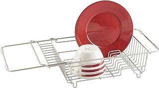 mDesign Escurreplatos Extensible para Fregadero - Escurridor Adaptable a Todos los fregaderos –Muy práctico para aclarar y secar la vajilla – Color: Plateado