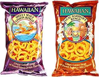 Hawaiian Onion Rings Variety Bundle: (1) Sweet Maui Onion Rings 4oz, (1) Luau BBQ Onion Rings 4oz (2 Pack Total)