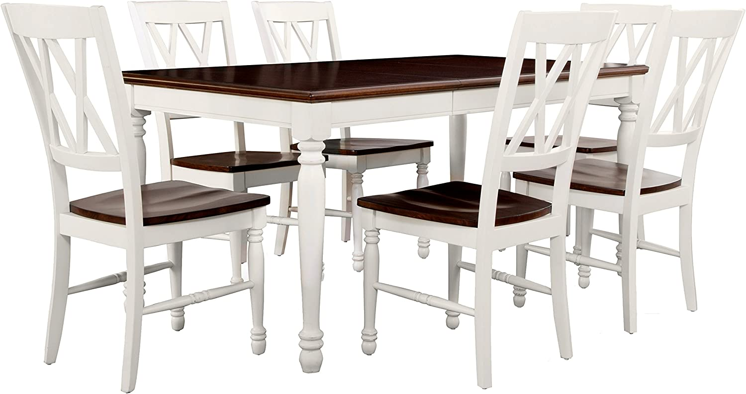 Crosley Furniture Shelby Dining Table Set with Extension Leaf, 9 Piece 9  Chairs, Distressed White