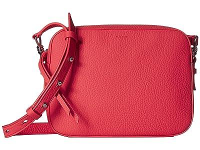 AllSaints Captain Leather SQ Crossbody (Coral Pink) Handbags