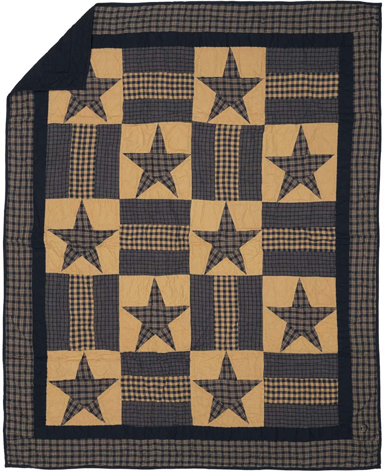VHC Brands Classic Country Primitive Pillows & Throws - Teton Star Tan Quilted Throw