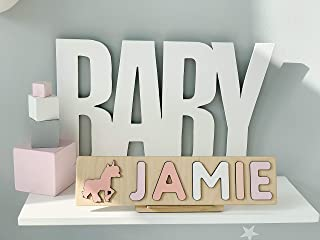 Name Puzzle - Nursery Decor - Handmade Toy - Baptism Gift Girl - Unique Gifts - Unicorn - 1st 2nd 3rd Birthday - Busy Board - Custom Name