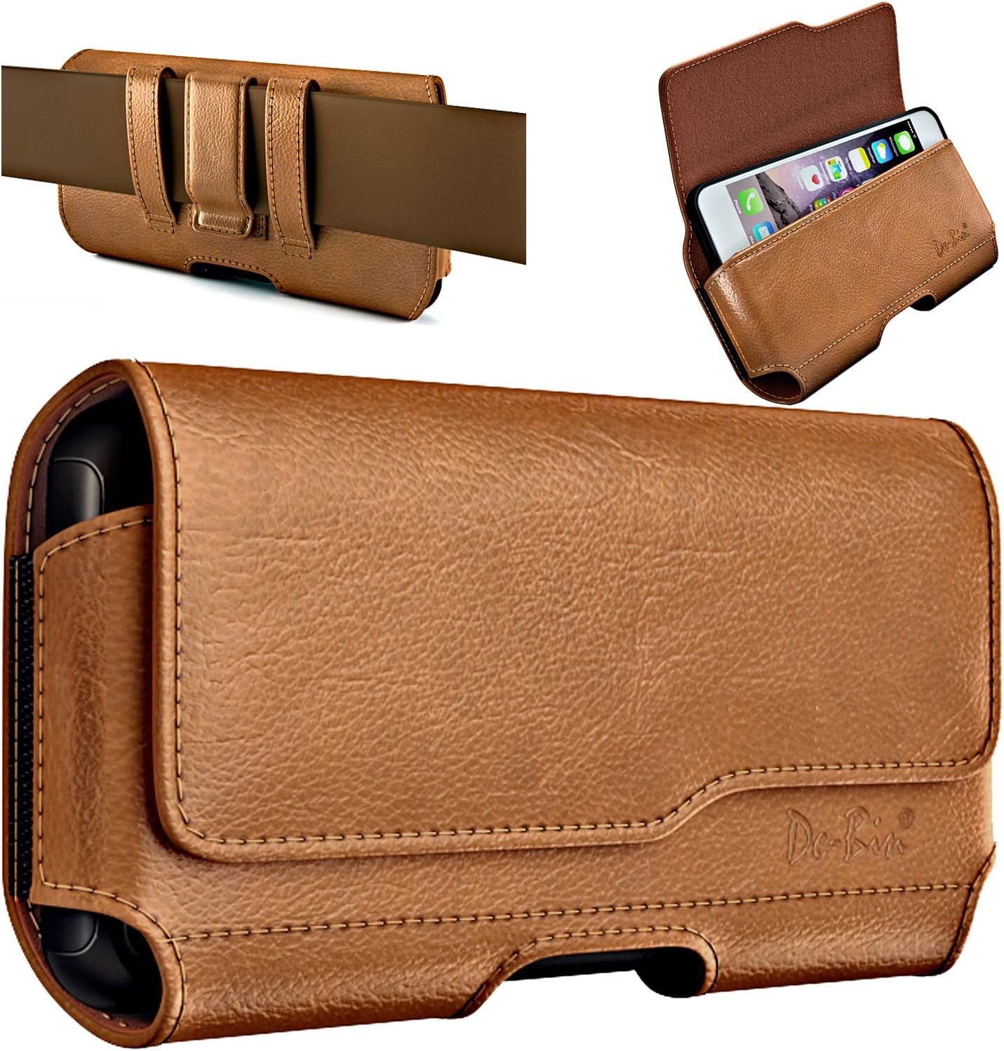 De-Bin Cell Phone Holsters Designed for Samsung Galaxy S20 Fe, S10+, S9+, S8+ Plus, A20 A30 A50 A51 Belt Case Cellphone Belt Holster Pouch with Belt Clip Pouch Fits Galaxy with Thin Case on-Brown