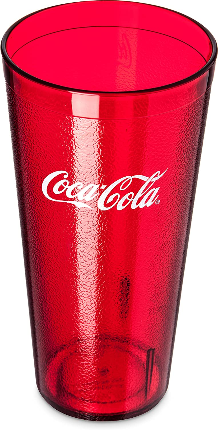 Carlisle 52243550H Stackable Restaurant SAN Plastic Coca-Cola Tumbler Cup, 24 oz, Ruby Red (Pack of 72)