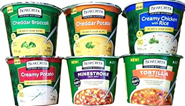 Cheddar Broccoli, Cheddar Potato, Creamy Chicken With Rice, Creamy Potato, Minestrone, Tortilla - Soup Bowls - Variety Pack of 6 - Bear Creek Country Kitchens