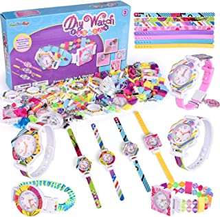FunLittleToy DIY Bracelet Making Kit for Girls, 400+ Pieces Jewelry Making Kits Set, Creative Arts and Crafts for Kids