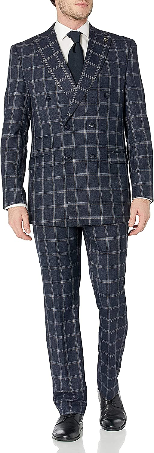 STACY ADAMS 2 Pc. Men's Windowpane Double Breasted Modern Fit Suit