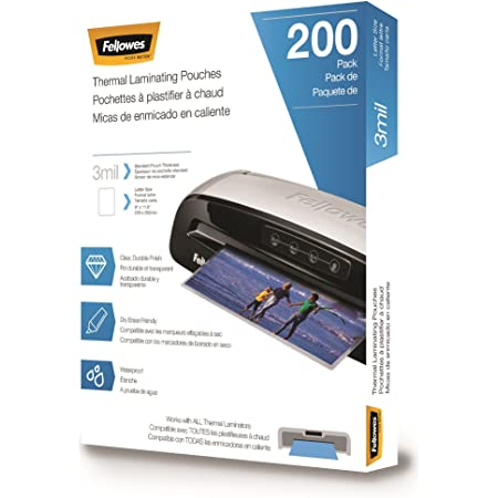 Fellowes Thermal Laminating Pouches, Letter Size Sheets 9 x 11.5-Inches, 3 mil, 200 pack (5743401), Clear