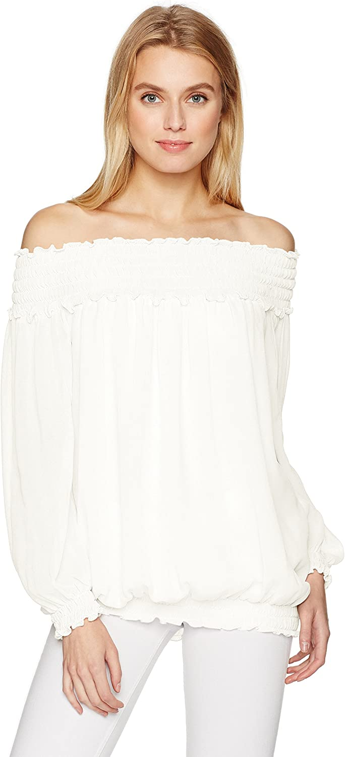 MAXSTUDIO Womens Solid Blouse with Bubble Hem Blouse