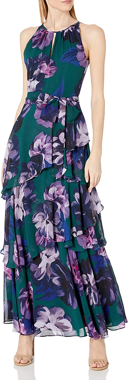Tahari ASL Women's Sleeveless Tiered Skirt Dress