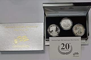 2006 American Eagle 20th Anniversary Silver Coin Set 3 Coins Proof and Reverse Proof MS