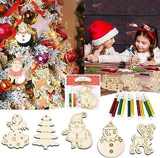 木制 圣诞饰品 未完成套装 手工制作 涂鸦 填色 DIY 家庭 圣诞节吊坠 装饰 10件木片装饰品 配15支彩色笔制作 5种形状的工艺品 (Multicolor)