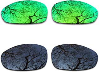 2 Pair Polarized Lens Replacement for Oakley Juliet Black&Emerald Green