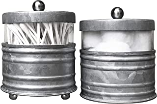 Autumn Alley Galvanized Bathroom Apothecary Jars Set, Farmhouse Bathroom Jars Qtip Holder Glass Dispenser- Rustic Vanity O...