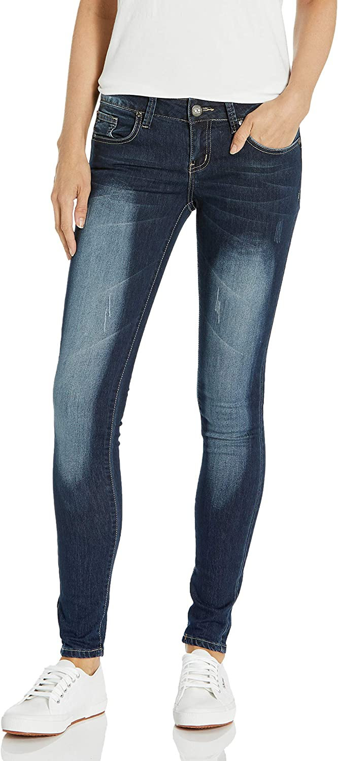 V.I.P.JEANS Classic Skinny Women Slim Fit Stretch Stone Washed Jeans in Junior Or Plus Size