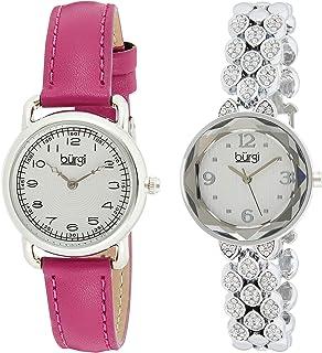 طقم ساعة للنساء بمينا متعدد الالوان وسوار من الجلد وخليط معدني من بورغي - BUR133SS