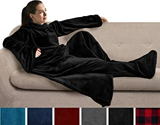 PAVILIA Fleece Blanket with Sleeves and Foot Pockets for Adult Women, Men | Wearable Fleece Throw Wrap, Warm, Cozy, Extra Soft for Sofa Couch Lounging Gaming (Black)