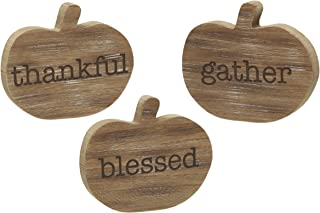 Collins Painting Thankful, Blessed, Gather Wood Pumpkins Bundle - Wooden Etched Upright Cutouts - Rustic Modern Country Household Decor - Autumn and Fall Seasonal Decor - Blessed Decor