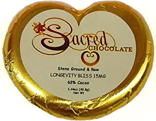 Sacred Chocolate LONGEVITY BLISS Maple Sweetened, Stone-Ground, Organic Vegan RAW Chocolate 64% Cacao 1.44oz Bar (12 Pack)