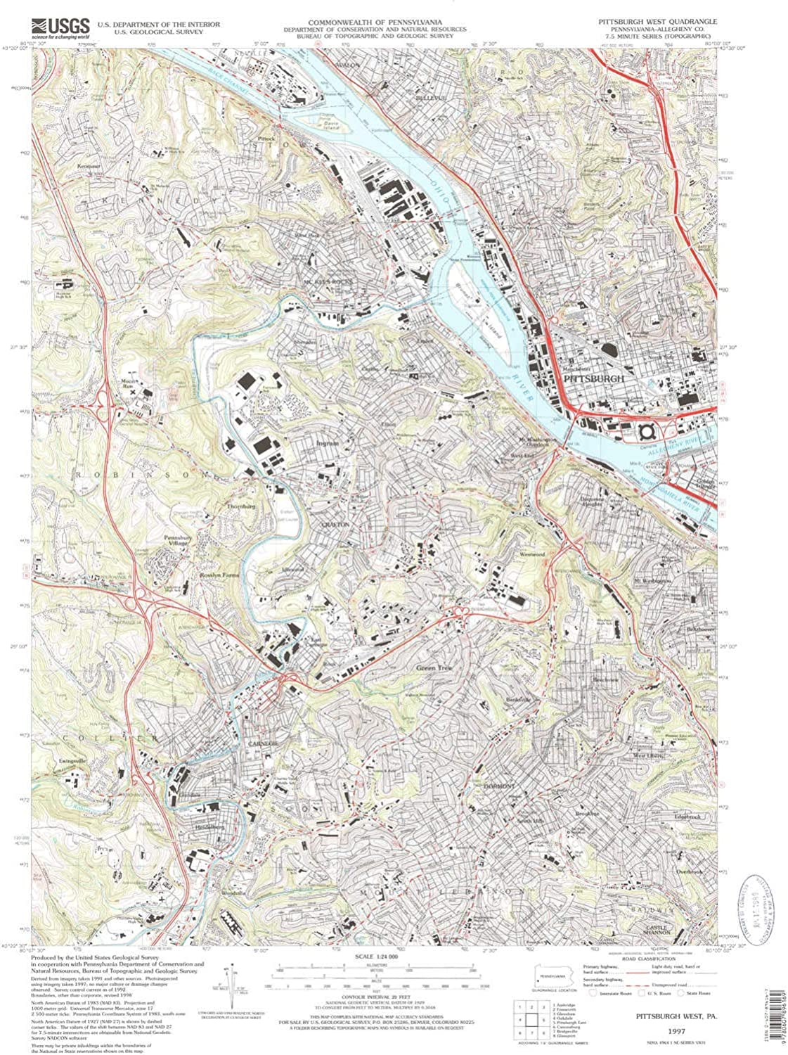 Pittsburg West PA topo map, 1 24000 Scale, 7.5 X 7.5 Minute, Historical, 1997, Updated 1998, 26.78 x 21.84 in