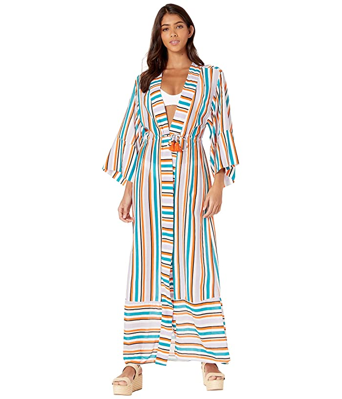 Maaji Blooming Peace Kimono Cover-Up (Orange Multi Stripe) Women