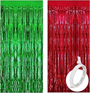 4 Pack Red Green Foil Curtains Metallic Fringe Curtains Shimmer Curtain for Photo Booth Props Birthday Wedding Party Decor (Silver) with 1 pc Double Sided Adhesive Tape / 2 Red 2 Green