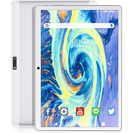 Feonal Tablet 10 inch Android 9.0 Tablet with 32GB Storage Quad-Core Processor, Dual Sim Card Slot, WiFi, Bluetooth, GPS, 128GB Expand Support, 3G Phone Tablets, IPS Full HD Display (Silver)