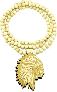 GWOOD Chief Pendant Good Wood Maple Color Replica with 36 Inch Bead Necklace
