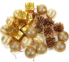 Juvale 28-Pack Christmas Tree Decorations - Glittery Xmas Ornaments in 4 Assorted Ball, Gift Box, Pinecone Designs - Perfect Festive DecorEmbellishments, Gold