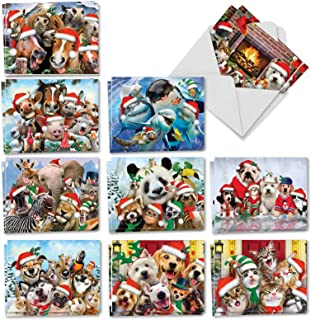 Merry Christmas to Zoo - 20 Adorable Kids Merry Christmas Cards with Envelopes (4 x 5.12 Inch) - Cute Zoo, Ocean, and Pet Animals - Assorted Boxed Greetings (10 Designs, 2 Each) AM6652XSG-B2x10