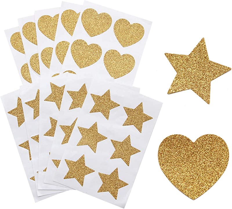 JETEHO 10Sheet 60Pcs Gold Glitter Heart Stickers And Gold Glitter Star Stickers For Kid S Arts Craft Supplies Greeting Cards Home Decoration DIY Craft Ornament