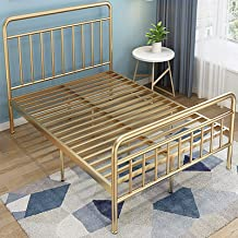 Exquisite Iron Bed, Simple Iron Frame Bed, 59/70.9 inch Iron Bed, Home Bedroom, Black, White and Gold,Gold,59 * 79in