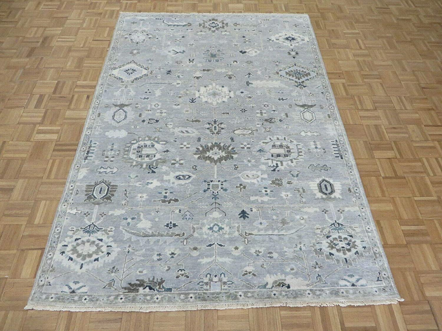6 x 8'9 Hand Knotted Gray Oklahoma City Mall Oushak Turkish Oriental Rug Max 67% OFF Wash White