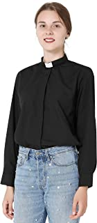 Womens Long Sleeves Clergy Shirt no Tab-Collar