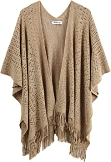 Knit Shawl Wrap For Women Capes Ladies Knitted Scarf Tassel Open Poncho Cardigan